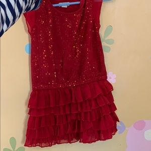 Children's place red sequin ruffle dress 3t
